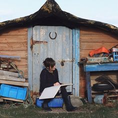 Drawing on Holy Island at the boat sheds. Drawing from life in my sketchbook never fails to cheer me up, it is absolutely my favourite thing. Helen Stephens Illustrator Drawing