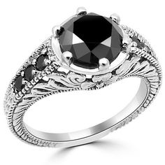 2 Carat Round Fancy Black Diamond Engagement Ring by JewelryPoint