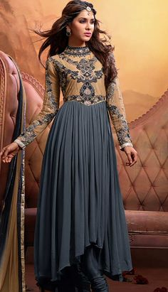 Indian Traditional Grey Georgette Anarkali Dresses, Dress-KPW-38966