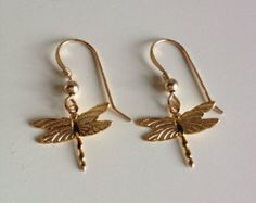 Beautiful Dragonfly Earrings - Comes in 14k Gold & Sterling Silver