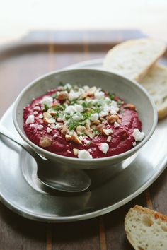 Beet Dip with Hazelnuts + Goat Cheese