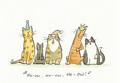 Illustrations by Anita Jeram I Love Cats, Crazy Cats, Anita Jeram, Cat Drawing, Children's Book Illustration, Cute Cartoon, Cat Art, Illustrators, Cute Animals