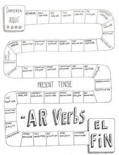 Spanish -AR verbs game board ~Spanish verb conjugation practice ~No Prep ~Verbos