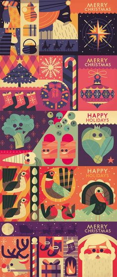 Concertina Christmas Card Designs by Owen Davey  http://owendavey.bigcartel.com/product/concertina-christmas-cards