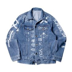 XOXO Denim jacket (€138) ❤ liked on Polyvore featuring outerwear, jackets, tops, coats, denim, denim jacket, blue denim jacket, blue jean jacket, jean jacket and blue jackets