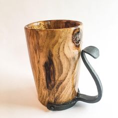 "littebitsworkshop: ""This beautiful tankard is made from Black Locust and comes with a hand forged handle. This beauty will hold up to 16oz of your favorite beverage. Made by Little Bits Workshop. For sale for $55 plus s&h. #wood #woodworking..."
