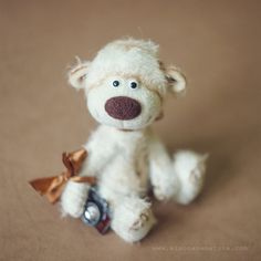 """Collectible mohair teddy bear, """"Tukas"""" by SoftlyBearPaw on Etsy"""
