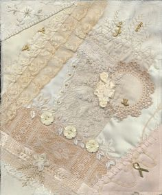anlabyhouse: Cream on Cream crazy quilt block 3
