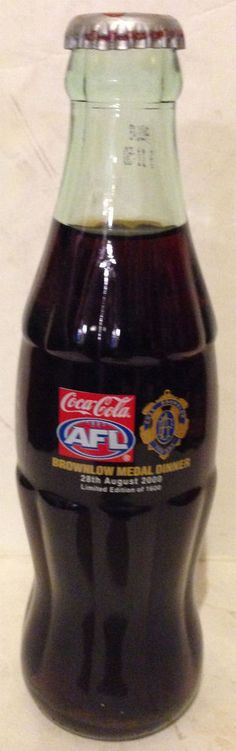RARE COKE COCA COLA AFL BROWNLOW MEDAL FOOTBALL BOTTLE w NO TAG 2000