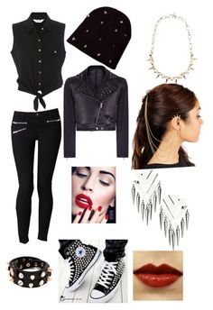 """""""dark outfit"""" by shamerebillups ❤ liked on Polyvore featuring J Brand, Converse, Rare London, Joomi Lim, Topshop and MANGO"""