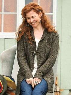 Women's Cabled Tunic Cardigan   Sahalie $99.98 olive, oatmeal.   mid-thigh