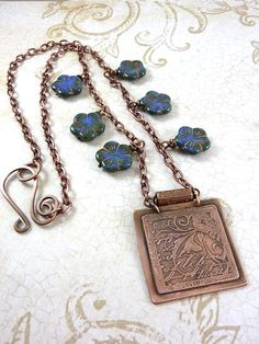 Blue Flower Necklace Etched Copper Pendant Czech by ATwistOfWhimsy