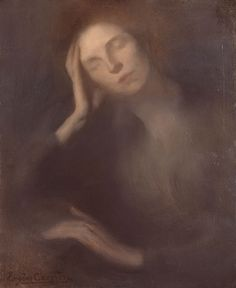 Eugene Carriere - Woman Leaning On a Table
