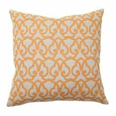 """Linen pillow with feather down fill and a scrolling motif.    Product: PillowConstruction Material: 100% Linen cover and feather-down fillColor: Gold and beigeFeatures:  Printed front and solid backInsert included Dimensions: 22"""" x 22"""""""