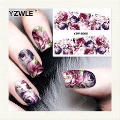 YZWLE 1 Sheet DIY Decals Nails Art Water Transfer Printing Stickers Accessories For Manicure Salon YZW-8068