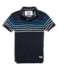 Mens - Bay Stripe Polo Shirt in Eclipse Navy Marl Mi | Superdry