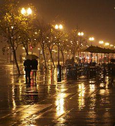 Golden Rain, San Francisco winter rain @ ferry plaza by Oakjack, via Flickr