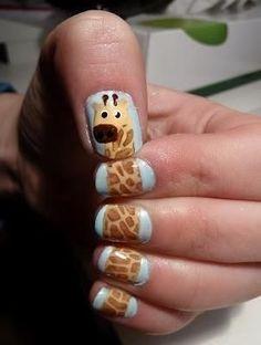Giraffe nails! SO cute.