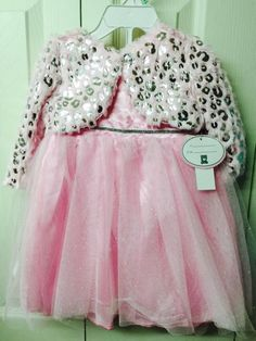 308039d268a Girls Holiday Pink Dress 18 Months Toddler Sparkling Silver Tulle Faux Fur