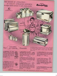 1959 PAPER AD Lincoln BeautyWare Beauty Ware Kitchen Canisters Bread Box Server   eBay