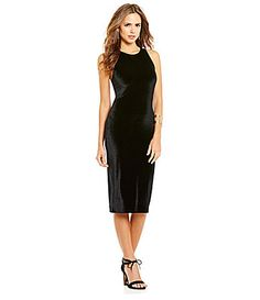 Gianni Bini Brynn Crew Neck Midi Velvet Sheath Dress #Dillards - in GREY
