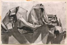 Drawing of Crumpled Paper, Charcoal and Kneaded Eraser, 24 by 36 inches -- x/post from r/pics : Art