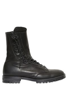 ヨージヤマモト(YOHJI YAMAMOTO)ブラックカウブーツ YOHJI YAMAMOTO - TWISTED LACE-UP LEATHER CROPPED BOOTS - BLACK