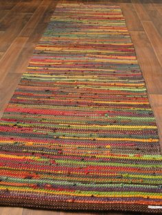 Handwoven Rug 27x56 Recycled T Shirts by plowgirl on Etsy