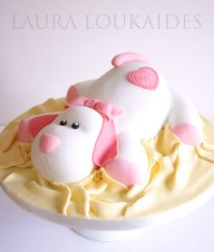 Pink Puppy Cake - by Laura Loukaides @ CakesDecor.com - cake decorating website