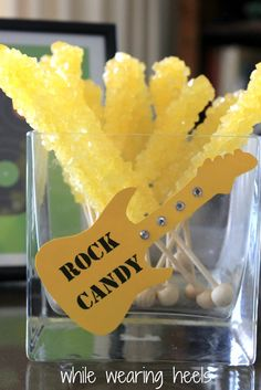 vip passes/ rock and roll baby shower | rock themed baby shower would be complete without rock candy