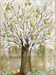 8x10 Art Print of Original Mixed Media Pear by MelissaEllensLoft, $26.00