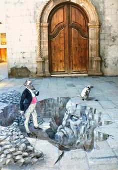 Street artist Eduardo Relero's 3D illusions on pavements 3D mural painted by Eduardo Relero called 'search for trascendenciaî', at the Festival of wrist Puerto de la Cruz in Tenerife, Spain: Eduardo Relero's incredible 3D Art