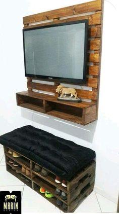 Gallery of Elegant Tv Stand ., - Gallery of Elegant Tv Stand …, - Diy Furniture Tv Stand, Pallet Furniture Designs, Pallet Patio Furniture, Diy Pallet Bed, Diy Pallet Projects, Tv Pallet, Palette Deco, Room Setup, Diy Home Decor