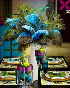 peacock feathers centerpiece
