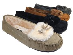 Women Fur Lined Moccasin Suede Rubber Sole Slipper Winter Flats Shoes Slip On FB #FirstSight #LoafersMoccasins