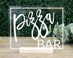 Pizza Bar Sign    wedding hors-d'oeuvres table sign pizza buffet bar sign bridal shower bachelorette Pizza Wedding, Diy Wedding Food, Wedding Signs, Wedding Reception, Yard Wedding, Rooftop Wedding, Reception Food, Wedding Desserts, Reception Decorations
