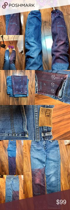 Customized hand painted Polo Jeans by Ralph Lauren Customized beautiful soft red wash leg that says laugh, believe, inspire and has a great design with few little birds flying around. These are size 6. Please see all photos. Come visit closet for more on of a kinds coming. Ralph Lauren Jeans