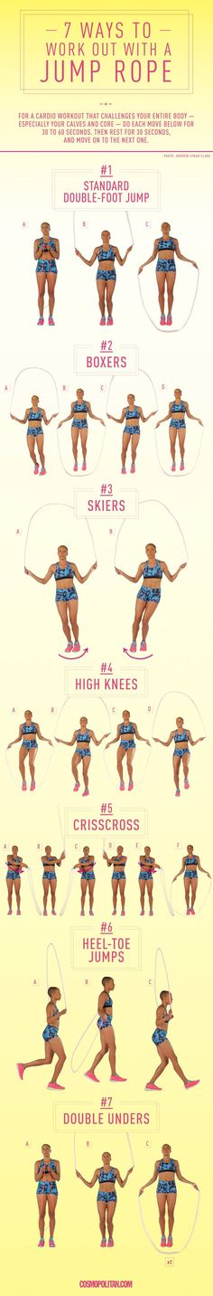 7 Ways to Work-Out With a Jump Rope - Forget double-dutch. These moves will REALLY make you sweat.