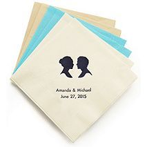 Personalized Napkins - BEVERAGE… so cute, can personalize with names and design, and they are on sale!