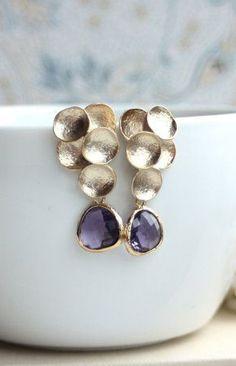 Grape Purple Glass Drop Earrings. Purple Egg Plant
