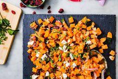 Sweet Potato Salad - Delish.com Salad With Sweet Potato, Sweet Potato Recipes, Veggie Recipes, Lunch Recipes, Potato Salad, Healthy Recipes, Vegetable Dishes, Healthy Thanksgiving Recipes, Fall Recipes