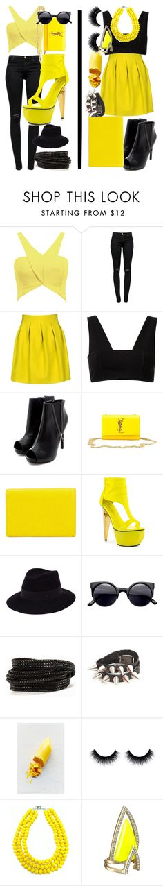 """""""Better as Two"""" by egordon2 ❤ liked on Polyvore featuring J Brand, Mauro Grifoni, T By Alexander Wang, Yves Saint Laurent, Smythson, Privileged, Maison Michel, Pieces, Lime Crime and Lagom"""