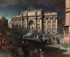 Le Prince Lointain: Oswald Achenbach (1827-1905), La Fontaine de Trevi au Clair…