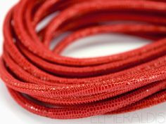 4mm Nappa Lederband Orange Red Snake Lizard 20cm