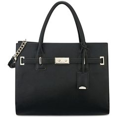 Nine West Internal Affairs Large Tote ($99) ❤ liked on Polyvore featuring bags, handbags, tote bags, black, black tote purse, pocket tote bag, structured tote, structured tote bag and black structured tote