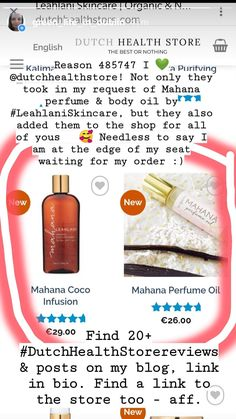Huge thank You to @dutchhealthstore for not only listening for my request for #Mahanaperfume & #MahanaCocoInfusion by #LeahlaniSkincare, not only they got it for me, but also added it for all of You guys too. Reason 358734985 I love #DutchHealthStore! for more than 20+ #DutchHealthStorereviews & posts, see my blog Green Life In Dublin (dot) com