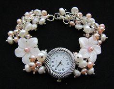 """Купить Часы """"Розовый жемчуг"""" - белый, часы, часики, наручные часы, женские часы"""