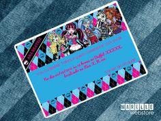 """Convite digital """"Monster High"""" <br> <br>� simples e f�cil, imprima quantas c�pias desejar e no local que quiser, na sua impressora, gr�fica ou at� mesmo enviar para o e-mail dos seus convidados. <br> <br>>> IMPORTANTE << <br> <br>- Arquivo: JPG <br>- Tamanho: 10x7 cm <br>- Alta resolu��o"""