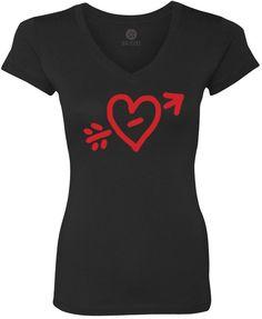 Valentines Doodle (Red) Women's Short-Sleeve V-Neck T-Shirt