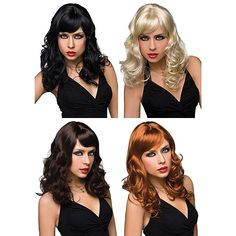 Aubrey Pleasure Wig - This stlye will jazz up any occasion whether it be a night out onthe toen or a night in the sheets.It has a swooping fringe and lovely curls. Comes in Black, red, blonde or brunette.Can be washed easily with soap and water.